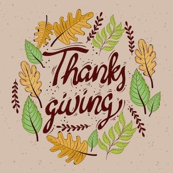 Szczęśliwy obchody święta dziękczynienia napis karty z projektowania ilustracji okrągłej ramki liści