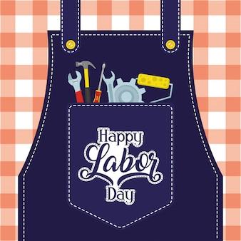 Szczęśliwy obchody święta pracy z narzędziami w kieszeni