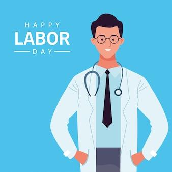 Szczęśliwy obchody święta pracy z pracownikiem lekarza płci męskiej