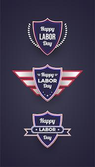 Szczęśliwy odznaki święta pracy i etykiety z realistyczną koncepcją