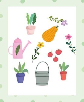 Szczęśliwy ogród, konewka wiadro roślina doniczka kwiat owoce ikony