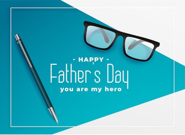Szczęśliwy ojca dnia tło z oczu szkłami i piórem
