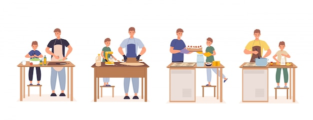 Szczęśliwy ojca syn gotuje wpólnie przy kuchnia setem