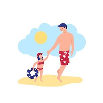 Szczęśliwy ojciec i córka idą nad morze w kostiumach kąpielowych z inflatabe toy circle under the blue