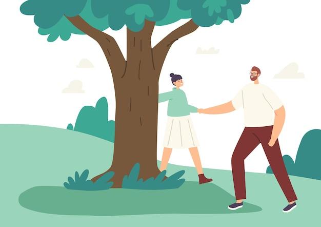 Szczęśliwy ojciec i córka przytulanie drzewa, aktywność czas letni. rodzinne postacie, rekreacja na świeżym powietrzu, gra, tata i mała dziewczynka trzymając się za ręce, spacery w parku miejskim. ilustracja wektorowa kreskówka ludzie