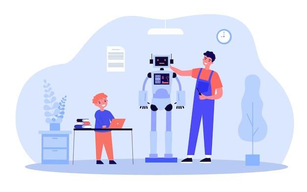 Szczęśliwy ojciec i syn co razem robota. człowiek z śrubokrętem, dziecko programowanie maszyny na płaskiej ilustracji wektorowych laptopa. technologia, koncepcja edukacji dla banera, projektu strony internetowej lub strony docelowej
