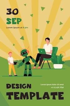 Szczęśliwy ojciec i syn gra z robotem. laptop, dzieciak, cyborg płaski szablon ulotki