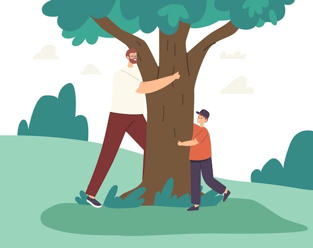 Szczęśliwy ojciec i syn przytulanie, drzewo miłości, zabawa w chowanego i bieganie. rodzinne postacie rekreacja na świeżym powietrzu, gra, tata i mały chłopiec aktywność letnią. ilustracja wektorowa kreskówka ludzie