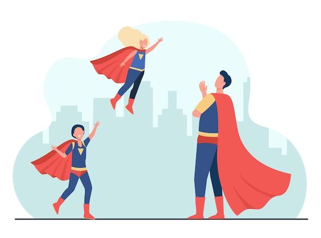 Szczęśliwy ojciec superbohatera z dziećmi w super kostiumach. ilustracja kreskówka