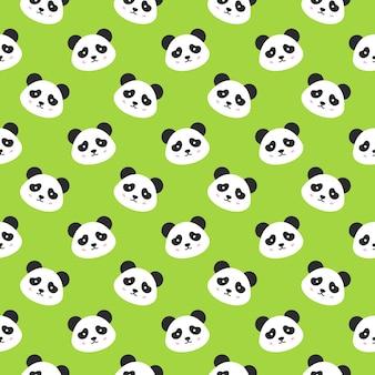 Szczęśliwy panda twarze wzór. ilustracja wektorowa ładny uśmiechający się głowy zwierząt.