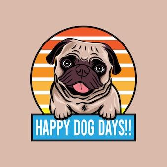 Szczęśliwy pies dni mops pies uśmiechający się koncepcja wektor ilustracja na białym tle