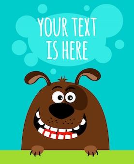 Szczęśliwy pies kreskówka z szablonem tekstu