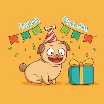 Szczęśliwy pies mops w przyjęcie urodzinowe z pudełkiem. kartkę z życzeniami wszystkiego najlepszego