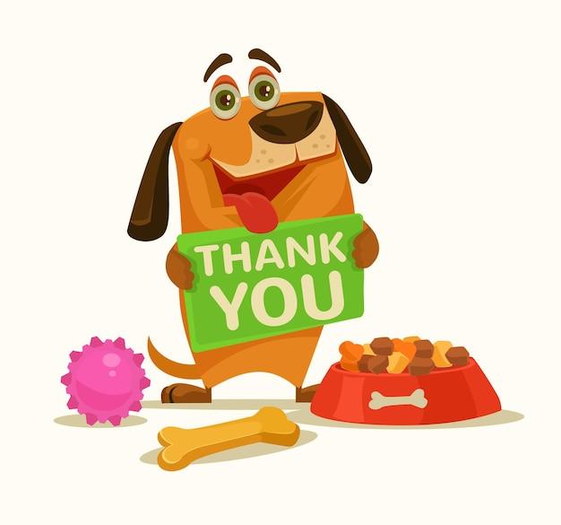 Szczęśliwy pies postać trzymać talerz z podziękowaniami