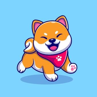 Szczęśliwy pies shiba inu ubrany w szalik ilustracja kreskówka. koncepcja natury zwierząt na białym tle. płaski styl kreskówki