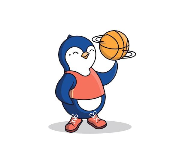 Szczęśliwy pingwin trzyma na palcu piłkę do koszykówki. cartoonish sport-animal to chłopiec w podkoszulku i tenisówkach.
