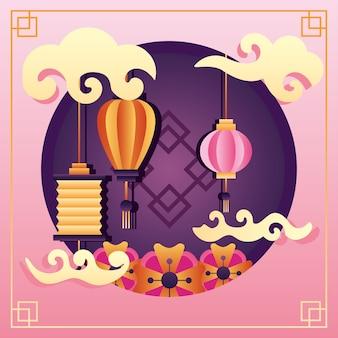 Szczęśliwy plakat festiwalu połowy jesieni z wiszącymi latarniami i chmurami