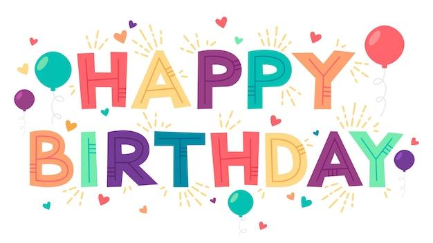 Szczęśliwy plakat kreskówka urodziny z balonów i serca