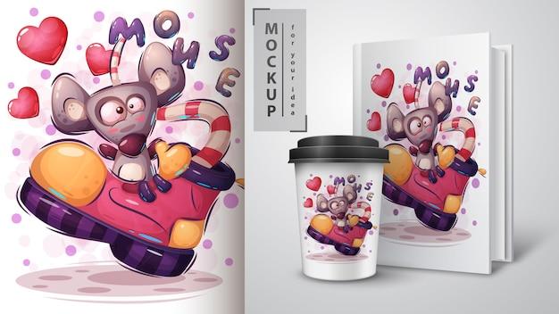 Szczęśliwy plakat myszy zwierząt i merchandising