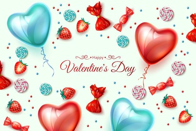 Szczęśliwy plakat walentynki. realistyczne balony w kształcie serca z tłem truskawek, cukierków. wiosenna dekoracja świąteczna. zaproszenie, projekt uroczystości. ilustracja