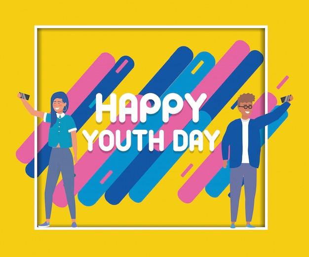Szczęśliwy plakat z okazji dnia młodzieży