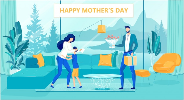 Szczęśliwy płaski dzień matki plakat z szczęśliwą rodziną