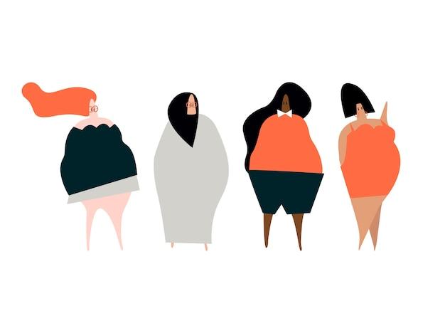 Szczęśliwy plus rozmiar kobiet wektor