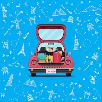 Szczęśliwy podróżnik na czerwonym bagażniku samochodzie z odprawą punktu podróży doodle samolotu na całym świecie pojęcie na błękitnym kierowym tło projekcie.