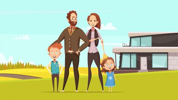 Szczęśliwy polubowny projekt koncepcji z młodych rodziców i mały chłopiec i dziewczynka stojąc na trawniku na tle wsi płaski wektorowej