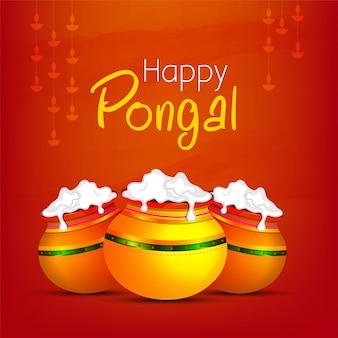 Szczęśliwy pongal festiwal religijny południowy india.