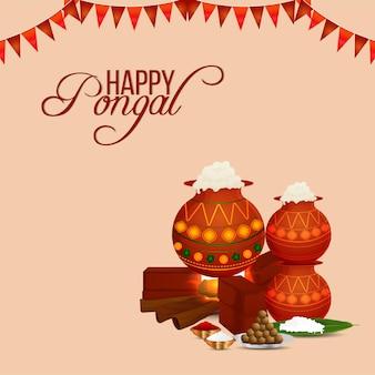 Szczęśliwy pongal powitanie karta celebracja indyjskiego festiwalu tło