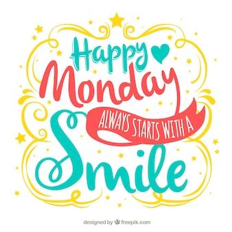 Szczęśliwy poniedziałek, kolorowe litery ręcznie rysowane