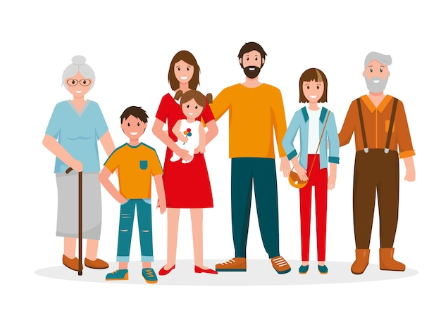 Szczęśliwy portret rodziny. trzy pokolenie - dziadkowie, ojciec i matka, dzieci w różnym wieku.