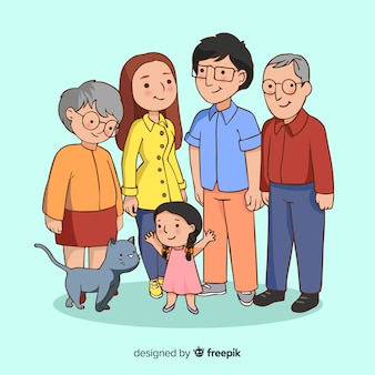 Szczęśliwy portret rodziny, wektorowy charakter postaci