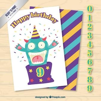 Szczęśliwy potwór kartka urodzinowa