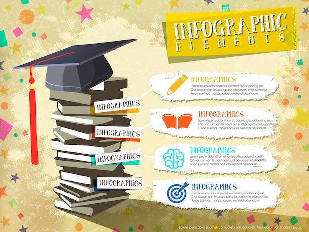 Szczęśliwy projekt elementów ukończenia dla broszury infografiki