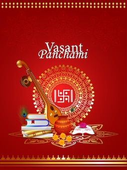 Szczęśliwy projekt karty z pozdrowieniami vasant panchami z kreatywną ilustracją bogini saraswati