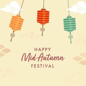 Szczęśliwy projekt plakatu festiwalu połowy jesieni z kolorowymi wiszącymi chińskimi lampionami na żółtym tle.