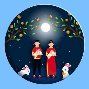 Szczęśliwy projekt powitania festiwalu chuseok z chińskim charakterem premium vector
