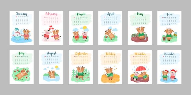 Szczęśliwy projekt szablonu kalendarza chiński rok 2021 z śliczną krową. projekt kalendarza 2021 z bykiem z hobby w różnych porach roku. zestaw 12 miesięcy. rok byka.