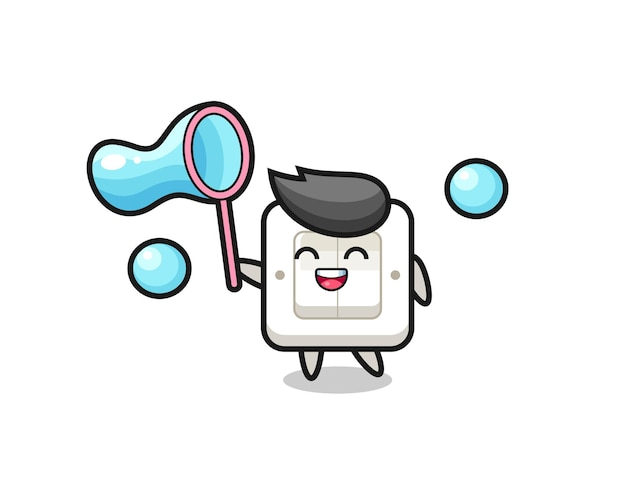Szczęśliwy przełącznik światła kreskówka gra w bańkę mydlaną, ładny styl na koszulkę, naklejkę, element logo