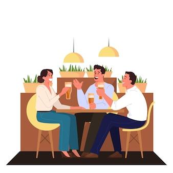 Szczęśliwy przyjaciel spędza razem czas i rozmawia. idea przyjaźni i aktywnego stylu życia. para mężczyzna i kobieta siedzą razem w pubie, piją piwo. ilustracja