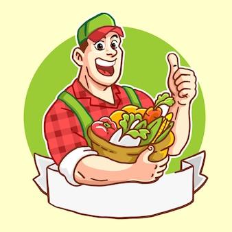 Szczęśliwy przystojny rolnik z bykiem kosz warzyw