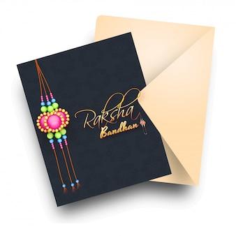 Szczęśliwy raksha bandhan czarny pozdrowienie projekt