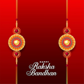 Szczęśliwy raksha bandhan czerwone tło z dwoma rakhi