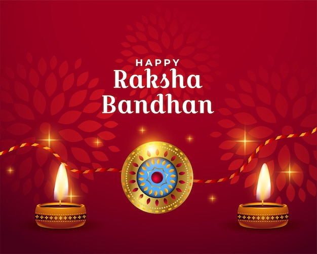 Szczęśliwy raksha bandhan czerwony błyszczący projekt powitania