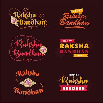 Szczęśliwy raksha bandhan. indyjski festiwal miłości i opieki vector typograficzne herby, logo lub odznaki.