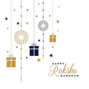 Szczęśliwy raksha bandhan rakhi i prezenty w tle
