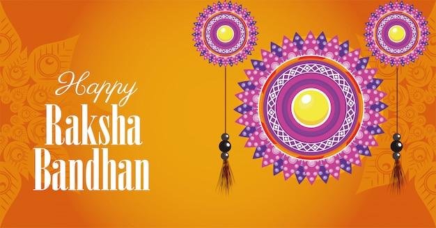 Szczęśliwy raksha bandhan świętowanie z kwiecistymi dekoracjami wiesza ilustracyjnego projekt