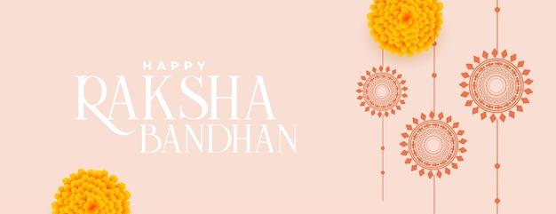 Szczęśliwy raksha bandhan tradycyjny baner z płaskim rakhi i kwiatem nagietka